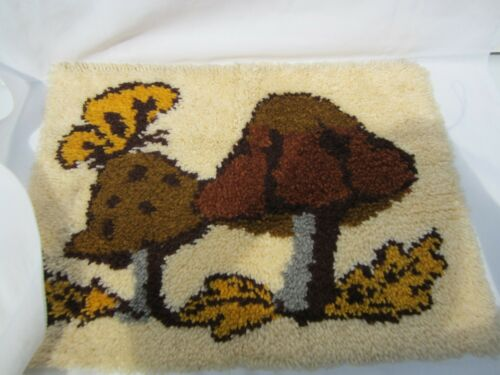 Completed Vintage Mushrooms Butterfly  LATCH HOOK Wall Rug Tapestry 27 X 20