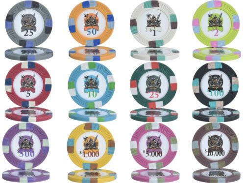 1000pcs 14G KNIGHTS POKER CHIPS BULK - Choose Denominations