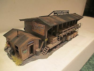 HIGHLY DETAILED & WEATHERED  CUSTOMIZED AMSDEN LUMBER CO. BUILDING #3 HO SCALE