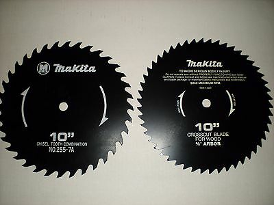 2 Makita Circular Saw Blades 10 Crosscut 58 Arbor Chisel Tooth Combination