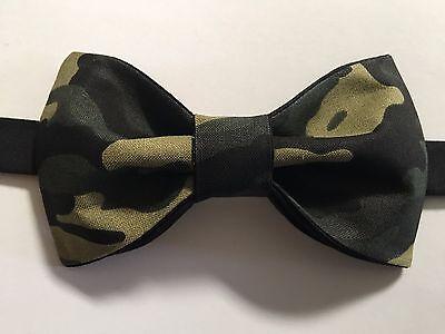 Custom Mens Camo Bow Tie Pre-tied Adjustable Handmade bowtie Camouflage Green