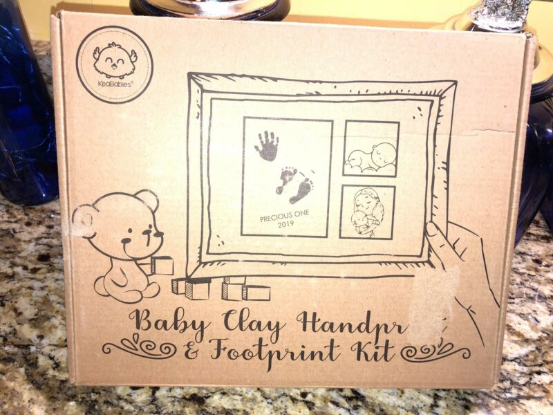 Keababies Baby Clay Handprint & Footprint Kit With Picture Frame