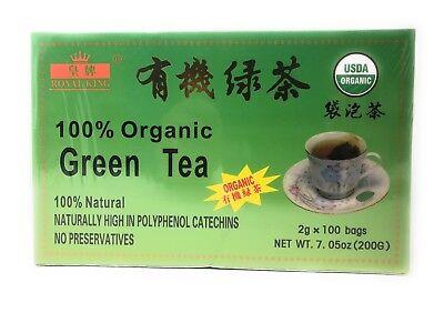CHINESE Primary GREEN TEA (100 BAG) USDA CERTIFIED Royal King Brand