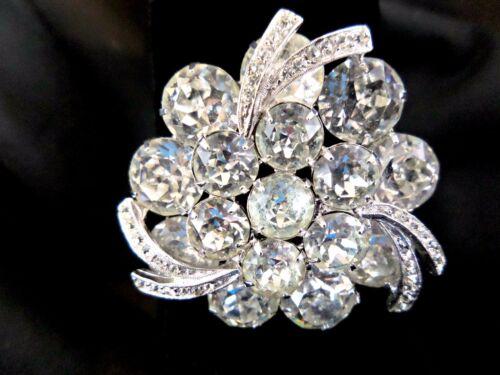 SPECTACULAR & PRISTINE WEISS Silver-tone Prong Set Rhinestone Brooch #2757