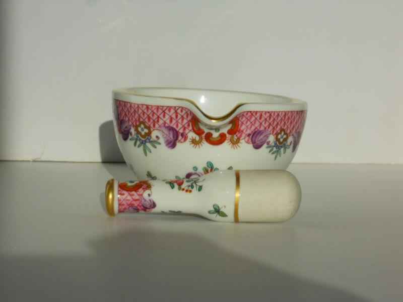 Antique Mortar and Pestle Ornate French Porcelain Bowl Floral  Vincent Dubois