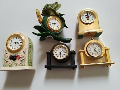 Vintage Miniature brass Clock Lot Of 5 Mickey Mouse frog mantel need batteries
