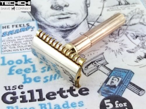 Gillette New Long Comb Head on Fat Handle Tech Handle Vintage Safety Razor