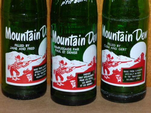 3 different Canadian MOUNTAIN DEW 10 oz ACL soda pop bottles FREE SHIPPING!