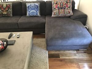 5 seater lounge with a chase grey suede Blakehurst Kogarah Area Preview
