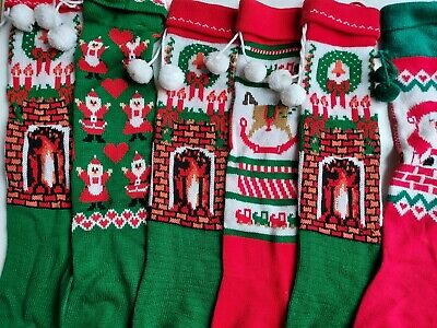 Merry Christmas Knit Stocking Lot of 6 Vintage Holiday Decor Santa Fireplace Toy