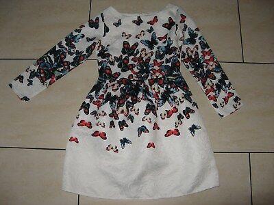 Bezauberndes Kleid Weiß mit Schmetterlingen in Gr. 128 134 TOP!!!