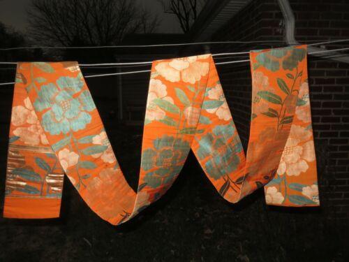 Antique Silk Japanese Obi Kimono Sash Textile Orange & Teal Japan So Beautiful!