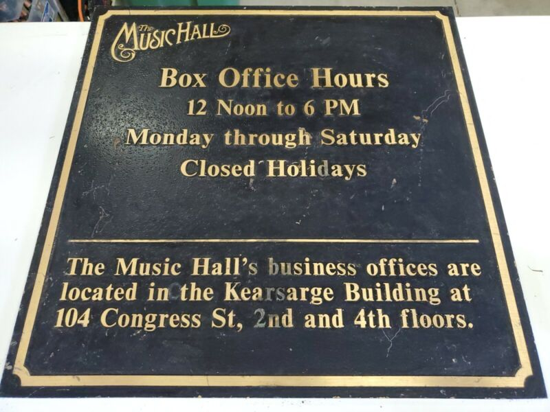 "Portsmouth NH Rare Music Hall Box office Hours Bronze Sign 23""x23"" Plaque heavy"