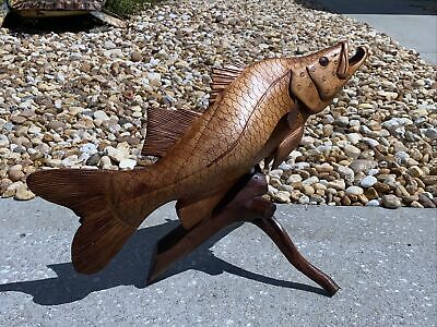 SNOOK ON DRIFTWOOD BASE HAND CARVED WOOD ART HOME DECOR FISH TIKI BAR SALTWATER