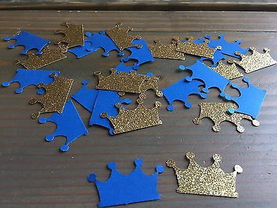 100 Prince Crowns, Royal Blue And Gold Glitter Confetti, Royal Birthday, Shower