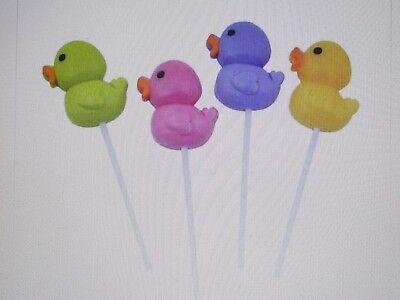 12 RUBBER DUCKY SUCKERS lollipops candy ducks Easter BABY SH