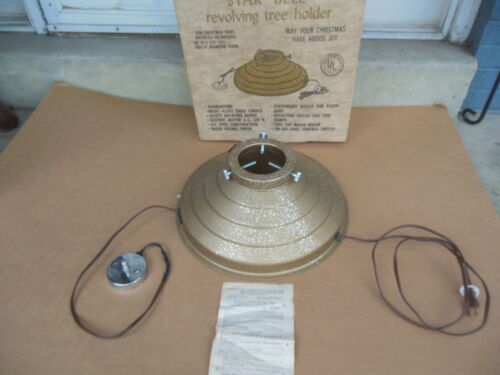Vintage Star Bell Revolving Musical Christmas Tree Stand Working W/ Box Gold