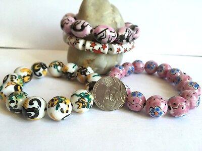 Cat Star Flower Pink Ceramic Bead Round Oval Tube 12mm DIY Jewelry Making 45 pcs