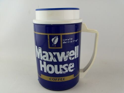 VTG 80s 90s WHIRLEY TRAVEL MUG Cup MAXWELL HOUSE Coffee Advertising Folgers