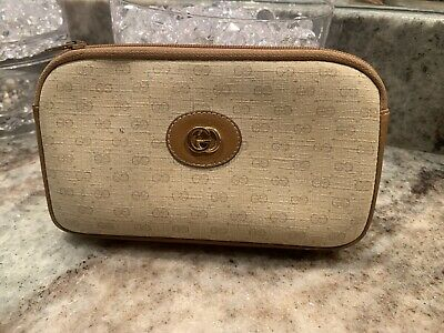 Authentic Gucci VINTAGE 1980's Gold Toned Monogram Cosmetic Bag And Coin Pouch