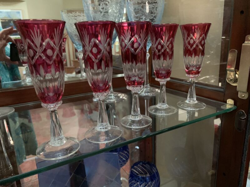 """5 Vintage Bohemian Ruby Or Cranberry Cut to Clear 5.5"""" Aperitif Glasses"""