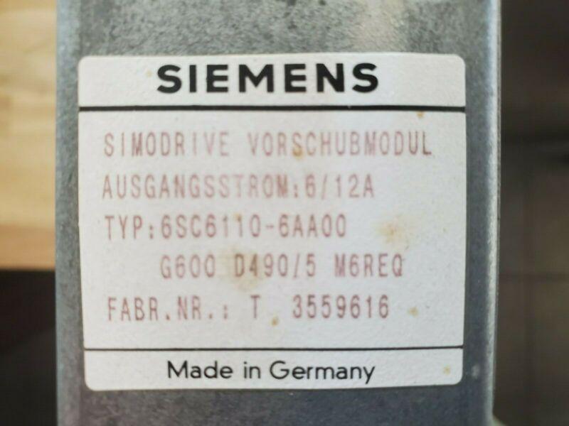 Heidenhain / Siemens Simodrive 6sc6110-6aa00 From Hermle Cnc Mill