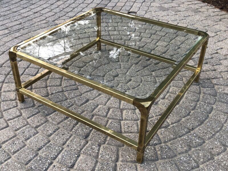 Vintage Mastercraft Solid Brass & Glass Top Coffee Table