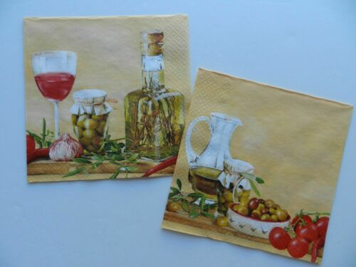 2 (Two) Single Lunch Size Paper Napkins Decoupage Craft Italian Food Arrangment