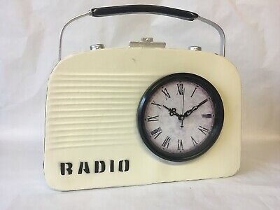 Hometime Mantel Clock, Metal Vintage Cream Shaped Radio Clock. NEW