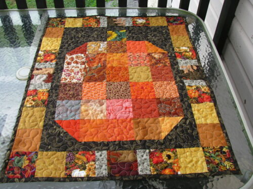 Handmade Quilted Scrappy Fall Pumpkin Wall Hanging Table Topper 26 x 33