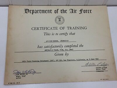 Vintage United States Air Force Certificate of Training 1963 24879