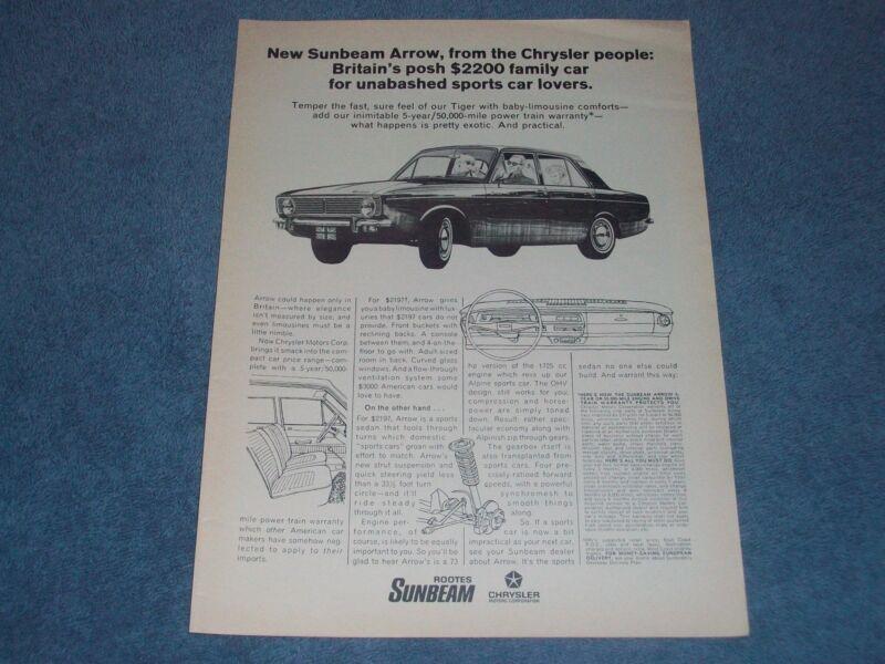 """1967 Sunbeam Arrow Vintage Ad """"Britain"""