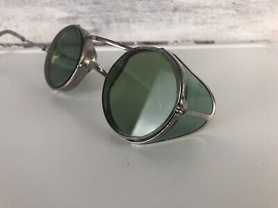 Antique Green Sunglasses Goggles Safety Old Vtg Steampunk Glasses Damage