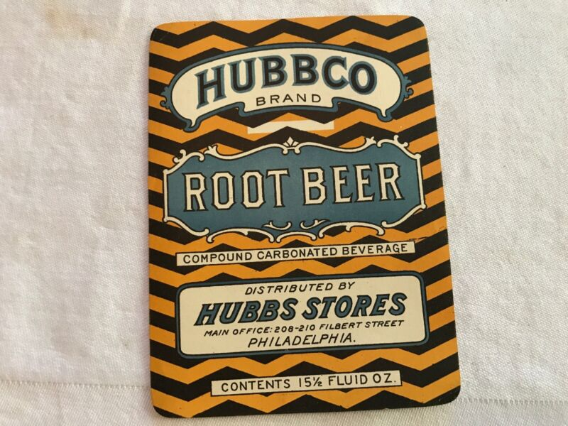 HUBBCO Vintage Root Beer Label, Hubbs Stores, Philadelphia, Pa.
