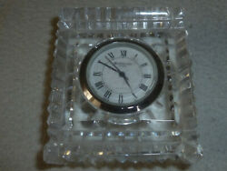 WATERFORD CRYSTAL MANTLE CLOCK SUNBURST PAPERWEIGHT SQUARE DESK SMALL VINTAGE >