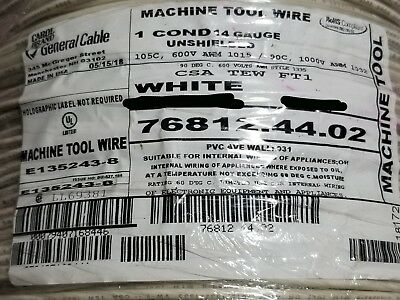 Carol 76812 14awg Stranded Bare Copper Pvc Hook Up Wire Awm Mtw White 100ft
