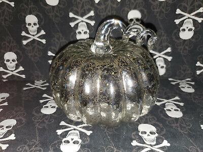 HALLOWEEN Silvered Glass Pumpkin Home Decor Centerpiece Swirled Stem Lights Up