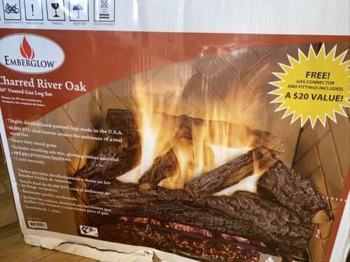 Emberglow Charred River Oak Vented Natural Gas Log Set WITH