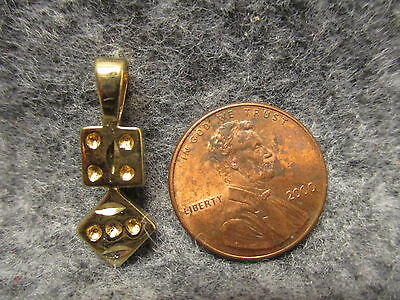 Tiny Loops (Tiny Lucky #7 Gambling Casino Gold Plated Dice Pendant Charm Fixed Loop 1