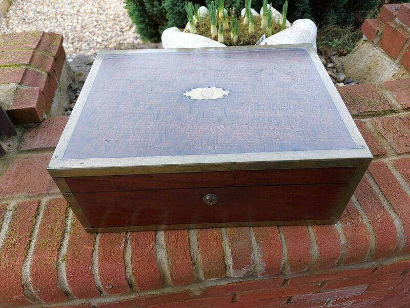 Good 19thC brass bound wooden box writing dressing box william chrisp