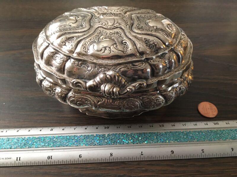 RARE 18th Century French Sterling Silver Sugar Box Etrog Box 1720 Paris France