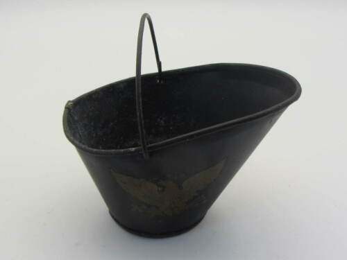 Vintage Mini Black Metal  Coal Bucket / Ash Tray Eagle Emblem