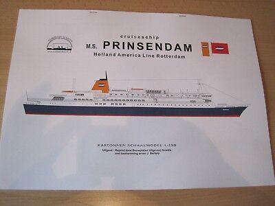 Kreuzfahrtschiff M.S. Prinsendam  1:250  Kartonbausatz NEU Bastelbogen