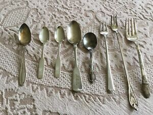 Old silver plated spoons, pickle forks, fork