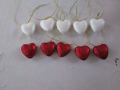"Pkg of 10- Miniature 1"" Red & White Glitter Heart Valentines Day Ornaments NEW"