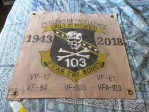 USN JOLLY ROGERS 75 YEARS OF EXCELLENCE VF-17 THRU VFA-103  READY ROOM  FLAG