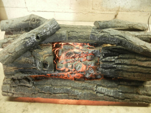 Vintage Electric Real Wood Fireplace Logs, Flickerering Flame Effect-Works Great