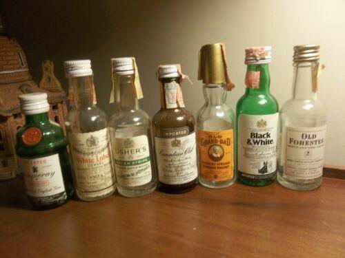 Seven Vintage 1960s Miniature Liquor Bottles Usher