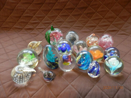 17 GLASS PAPERWEIGHTS  FLORAL  SWIRL  ABSTRACT DESIGNS