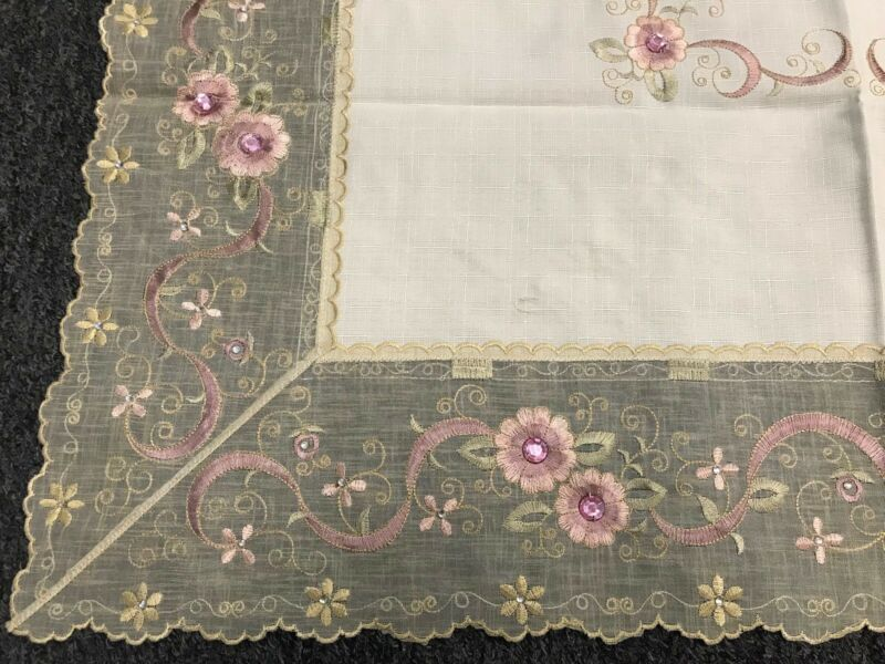 """Ivory Cream Embroidery Pink Jeweled Rhinestone 33"""" Square Embroidered Tablecloth"""